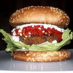 Lentil Vegetarian Burger  with Roasted Bell Pepper  (The Domestic Geek's  Recipe)