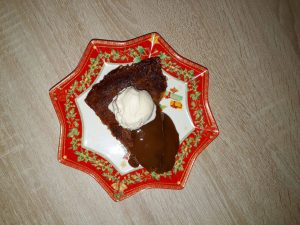 Hotcakes Menu - Holiday Hot Cake (Nigella Lawson's Recipe), Hotcake with Muscovado Sugar and Vanilla Ice Cream.